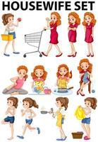 Dona de casa fazendo atividades diferentes vetor