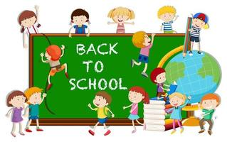 Volta ao tema da escola com crianças e placa