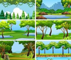 Conjunto de cenas em cenário natural