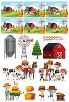 Conjunto de objeto de fazenda e plano de fundo vetor
