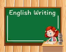 Menina escrevendo na aula de inglês vetor