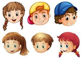 Seis rostos de crianças diferentes vetor