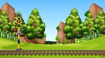 Modelo de paisagem de cena de natureza vetor