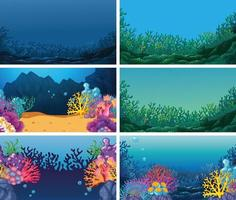 Conjunto de fundos subaquáticos vetor