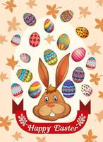 Cartaz de feliz Páscoa com coelho e ovos vetor