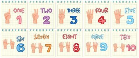 Conjunto de número contando o gesto com a mão vetor