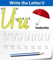 Planilhas de alfabeto de rastreamento de letra U vetor