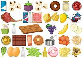 Conjunto de objetos isolados de comida e sobremesas vetor