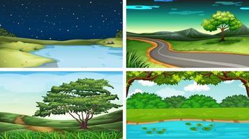 Conjunto de cenas na natureza com montanha e córrego