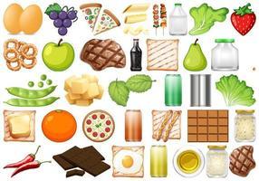 Conjunto de objetos isolados de alimentos vetor