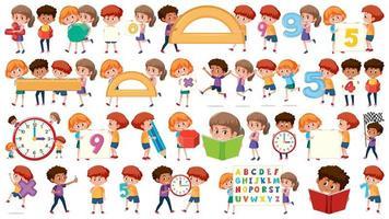 Conjunto de objetos de crianças de matemática vetor