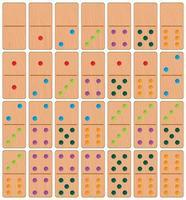 Conjunto de dominó de madeira vetor