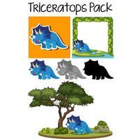 Conjunto de pacotes de adesivo de triceratops vetor