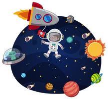 Um astronauta no modelo de espaço vetor