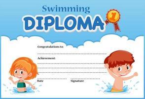 Modelo de certificado de diploma de natação vetor