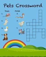 Modelo de jogo de palavras cruzadas para animais de estimação vetor