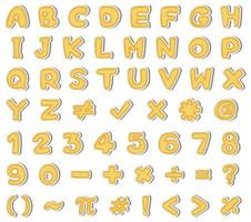 Alfabeto Inglês amarelo e número no fundo branco vetor