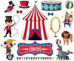 Um conjunto de espetáculo de circo vetor