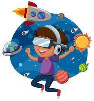 Um homem jogando jogo de realidade virtual vetor