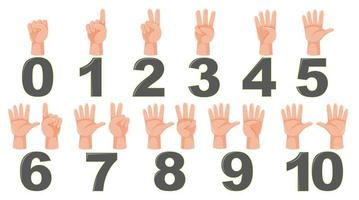 Gesto de dedo de contagem de matemática vetor