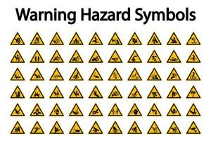 Conjunto de sinal de perigo de aviso triangular vetor