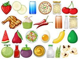 Conjunto de objetos alimentares vetor