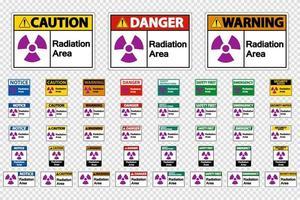Definir sinais de área de radiação em fundo transparente vetor