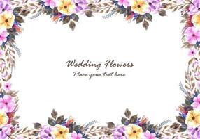 Quadro de flores decorativas com fundo de cartão de convite de casamento vetor