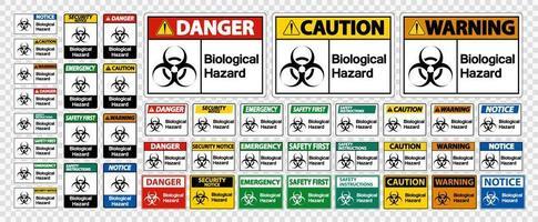 Sinais de símbolo de perigo biológico em fundo branco vetor