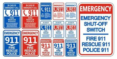 911 fogo resgate polícia símbolo sinal isolado no fundo branco vetor