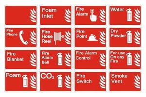 Definir placa de sinal de símbolo de fogo no fundo branco vetor