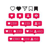 Como, comentar, seguidor e notificação conjunto de ícones vetor