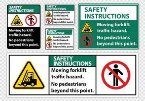 Conjunto de risco de tráfego de empilhadeira em movimento vetor