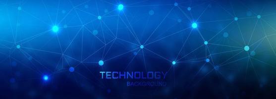 Fundo de polígono de tecnologia de banner digital de conexão vetor