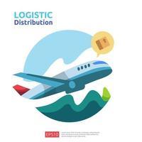 conceito de carga de avião de distribuição logística vetor