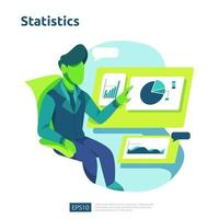 conceito de análise digital para pesquisa de mercado de negócios vetor