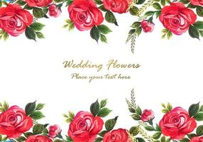 Rosa vermelha decorativa com fundo de cartão vetor