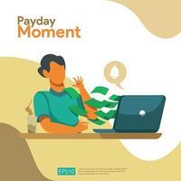 Conceito da folha de pagamento do momento do pagamento