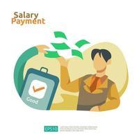 pagamento de salário e conceito de folha de pagamento