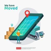 nova loja de negócios de anúncio de localização vetor