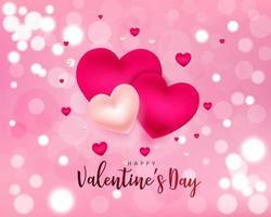 Design de dia dos namorados com corações e luzes de bokeh vetor