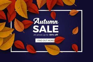 Fundo de venda outono com folhas vermelhas e laranja vetor