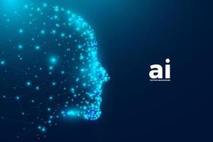 Fundo de inteligência artificial com partículas e rosto humano