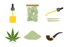 Conjunto de elementos de cannabis vetor