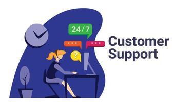 Ilustração plana de suporte ao cliente