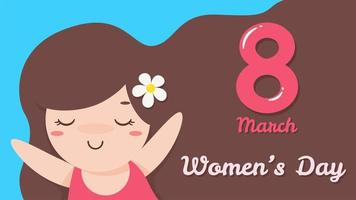 8 de março dia da mulher com menina vetor