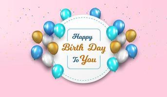 Saudação de balão feliz aniversário com moldura de círculo vetor