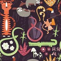 Padrão sem emenda com animais fofos da floresta tropical, tigre, cobra, preguiça
