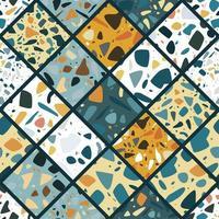 Design de padrão sem emenda de terrazzo com pedras de mão desenhada