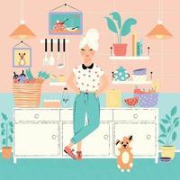 Uma mulher em sua cozinha com comida e cachorro vetor